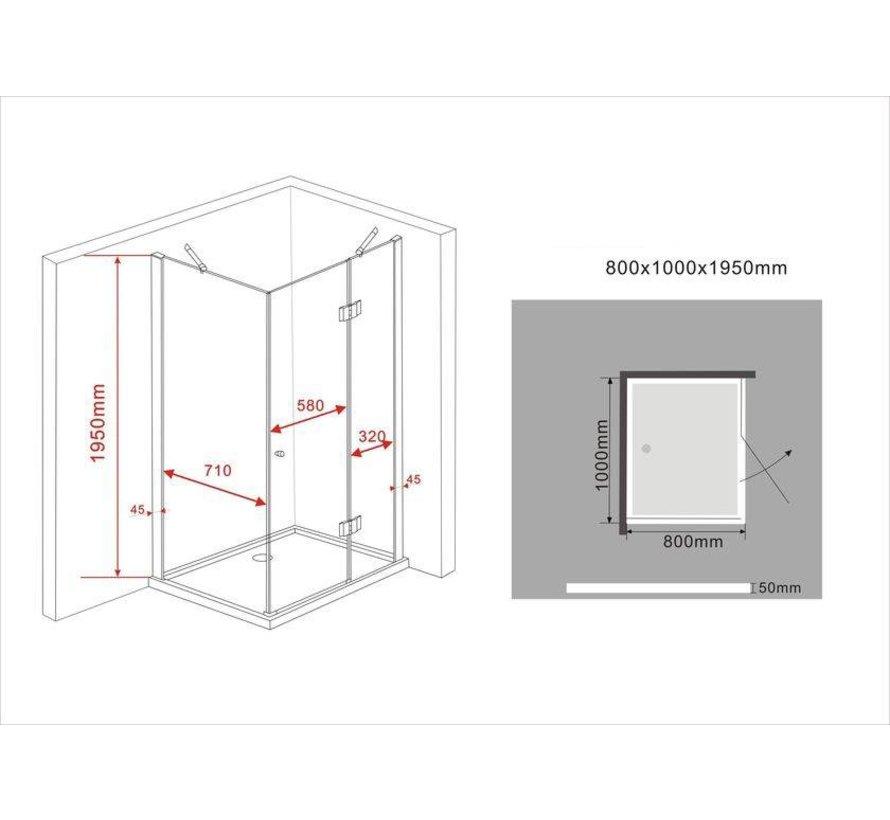 Novia douchecabine hoekinstap rechthoek 100x80x195 cm