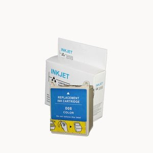 alternatief inkt cartridge compatibel voor Epson T008 gekleurd wit Label