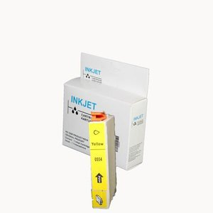 2 stuks alternatief inkt cartridge compatibel voor Epson T0554 geel wit Label
