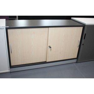 FEBRU schuifdeurkast grijs met beuken houten deuren