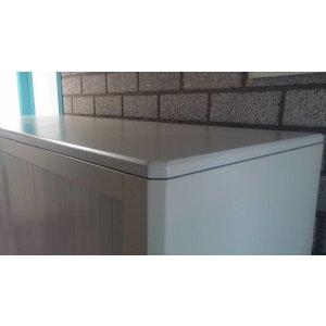 Roldeurkast wit met gemelleerd volkern houten topblad