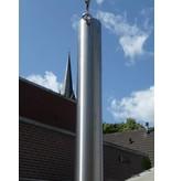 RVS paal dia. 76,1 mm - lengte: 300 cm, Geborsteld 316. incl. oog aan bovenzijde