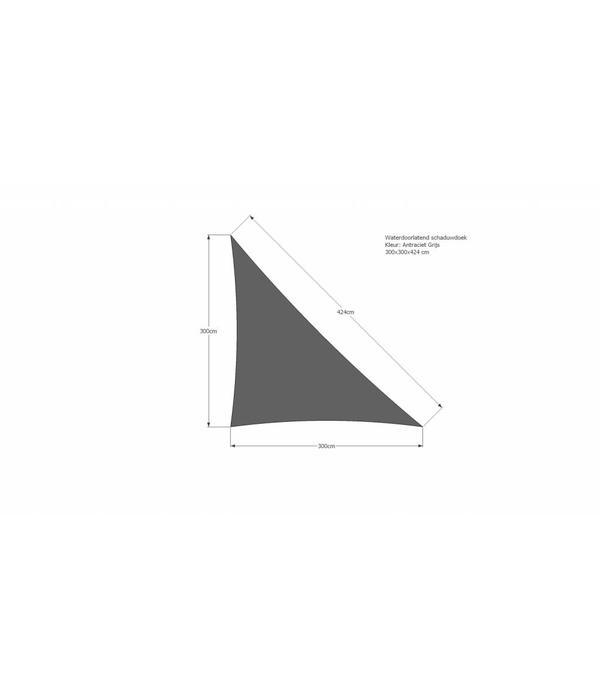 ISlifestyle Maatwerk waterdoorlatend schaduwdoek 300x300 (90 graden) x 424 cm. Kleur: Antraciet