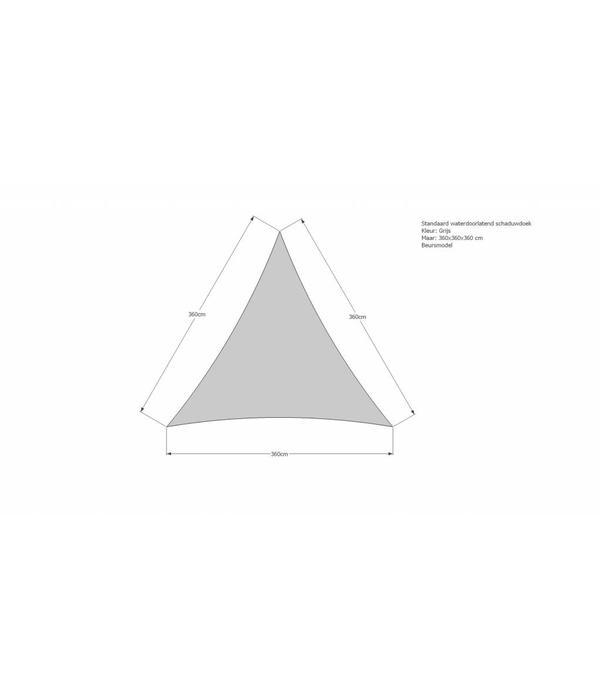 Sunfighter Waterdoorlatend schaduwdoek 360x360x360 cm. Kleur: Grijs