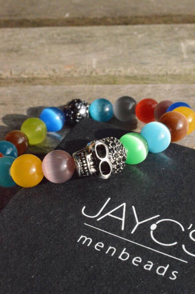 JayC's Heren armband Skull Rainbow