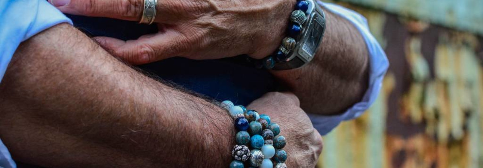 Blue Blue Mood Men Bead Bracelets
