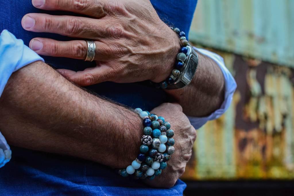 Blue Blue Mood Men Bead Bracelets-1