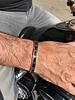 Armband heren staal goudkleur blauw (Maat S)