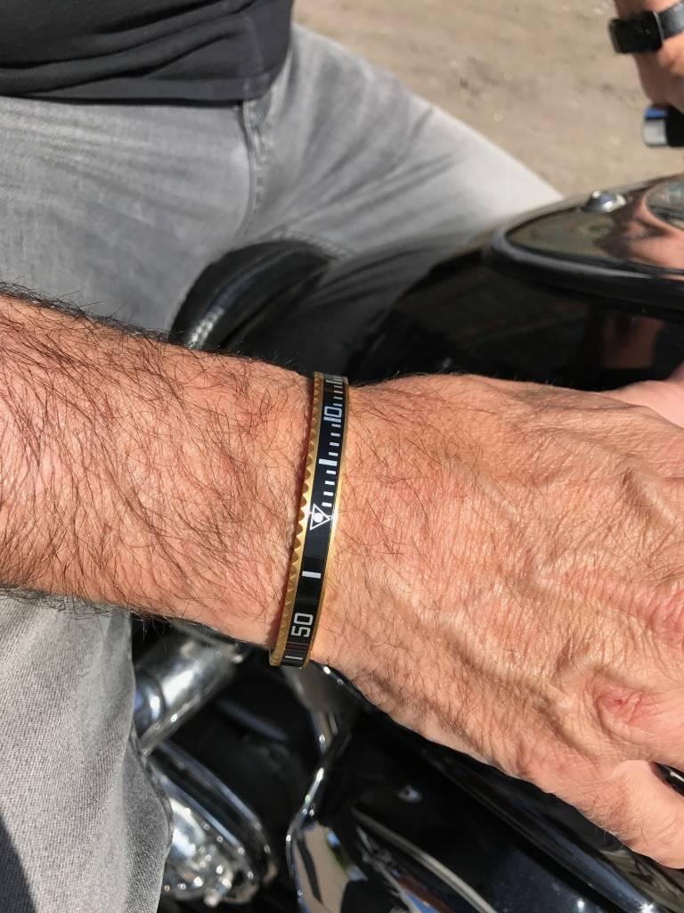 Armband heren staal goudkleur blauw (Maat S)-2