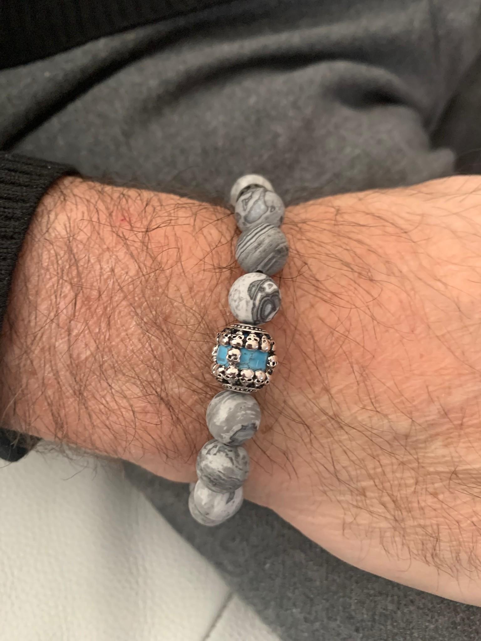 JayC's Bracelet Men Blue Sky Skull