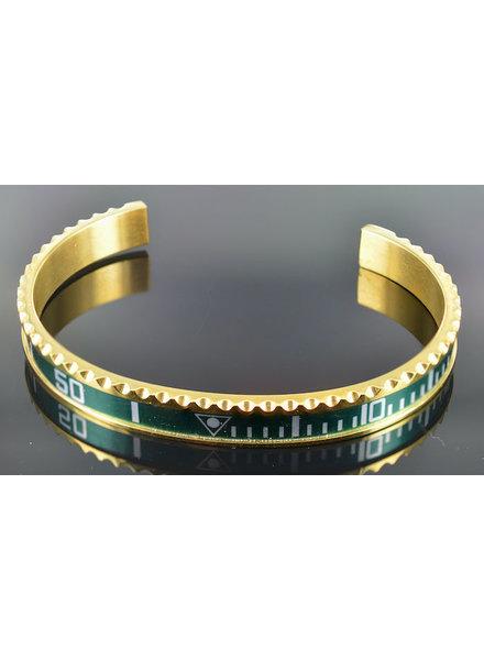 Heren armband staal goudkleur groen (Maat S)