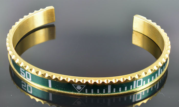 Armband heren staal goudkleur groen (Maat S)
