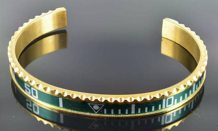 Armband heren staal goudkleur groen (Maat S)-1