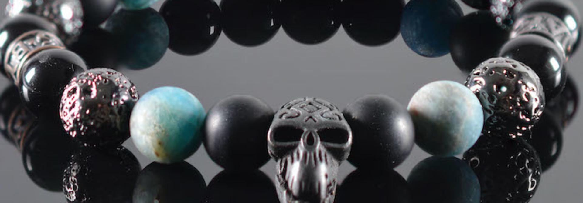 Armband heren  Blue Diamond  Skull