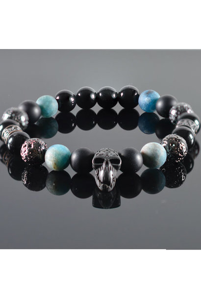 Heren armband Blue Diamond  Skull