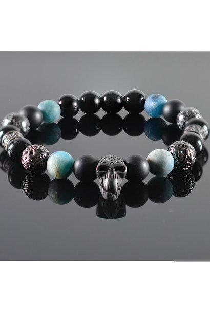 Men's bracelet  Blue Diamond  Skull