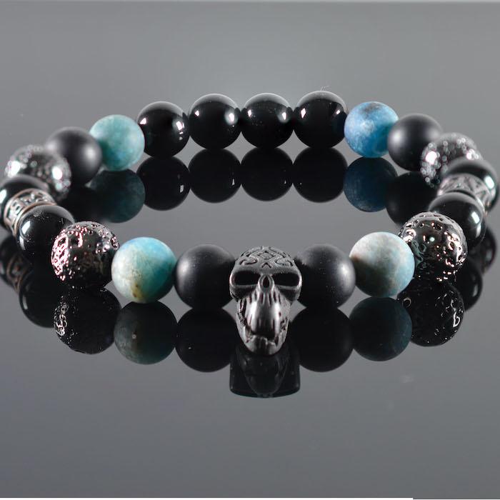 JayC's Bracelet men  Blue Diamond  Skull