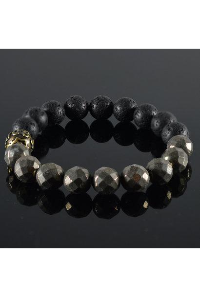 Men's bracelet Hematite Lava