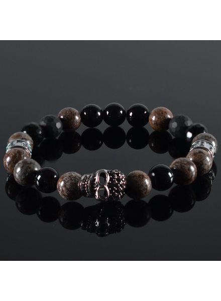 JayC's Men's bracelet Burgundy II Skull
