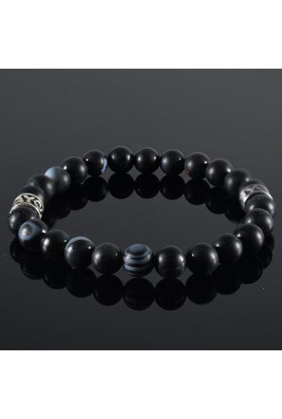 Heren armband Zwart Mix
