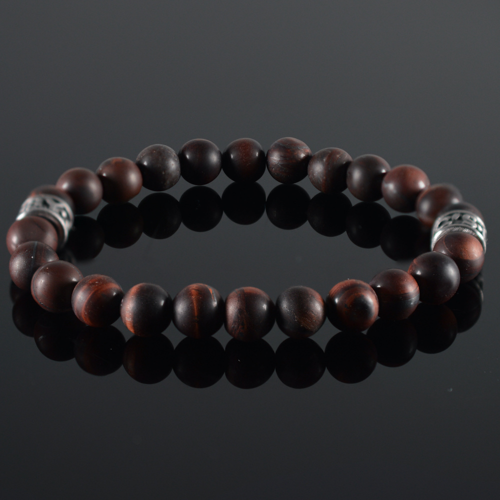JayC's Bracelet men Tiger-Eye darkred