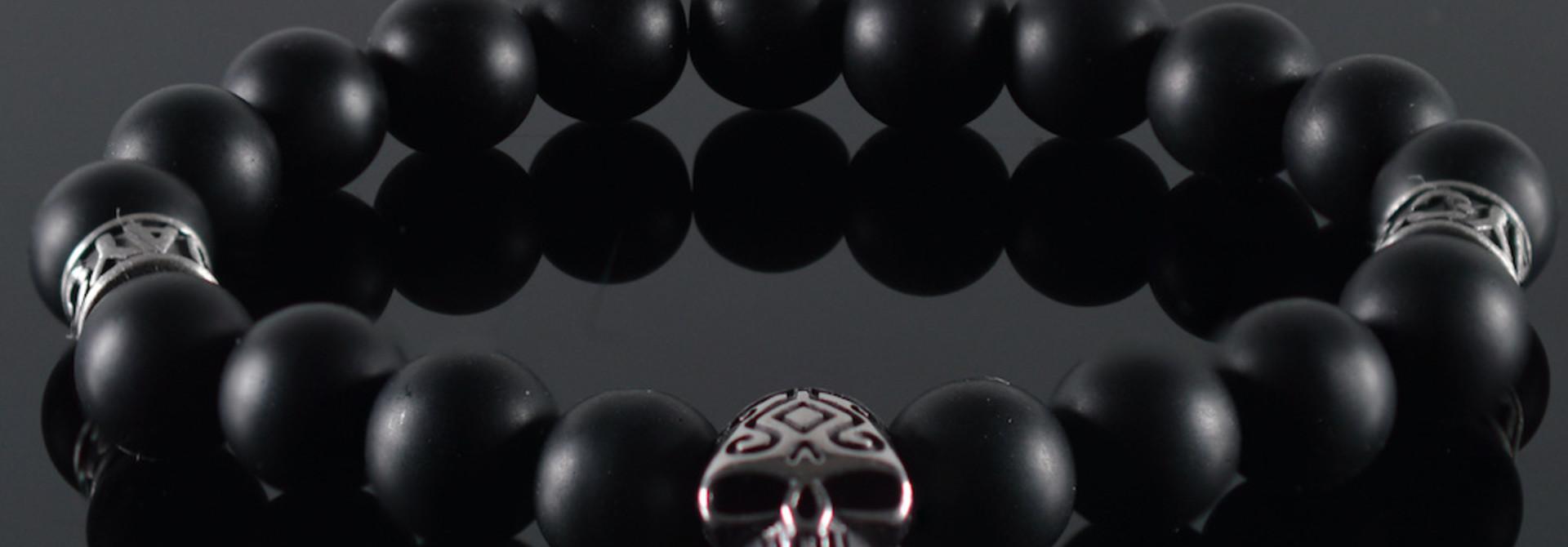Armband heren Skull Black Invite