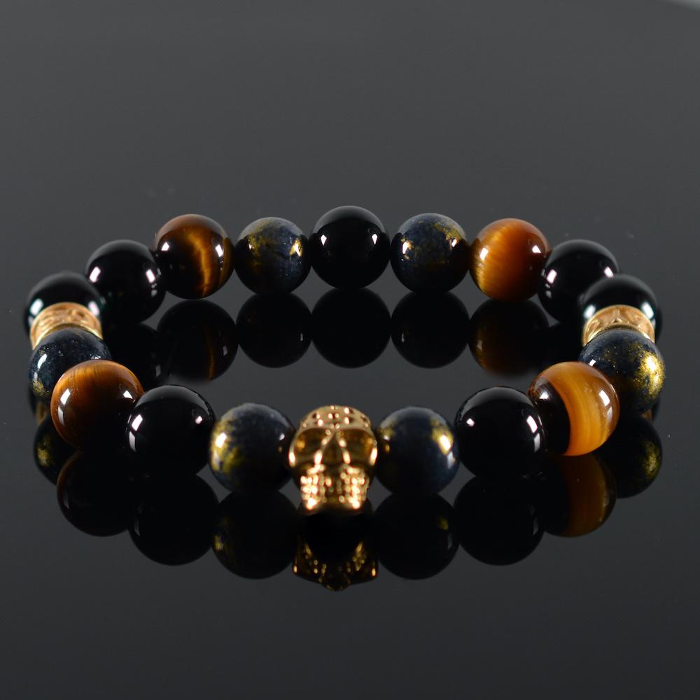 Armband heren Oris Skull Gold-1
