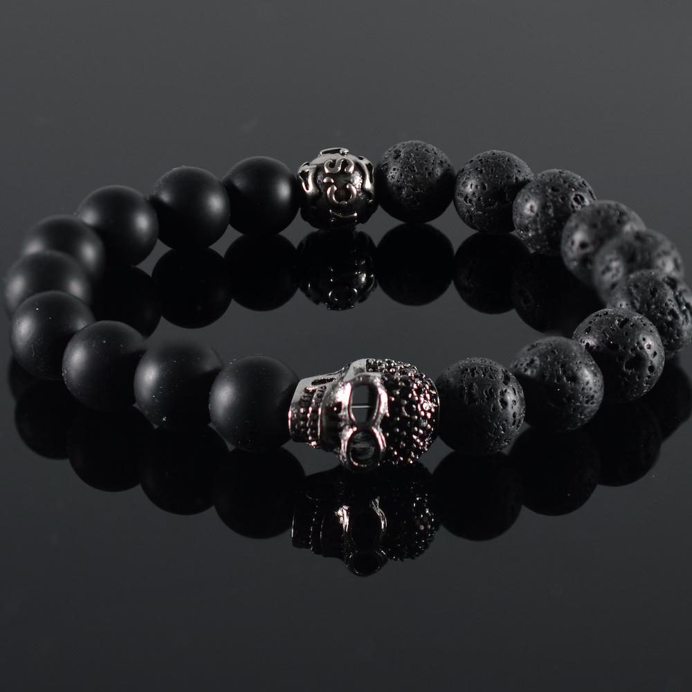 Armband heren Skull Black Skully Doodshoofd-1