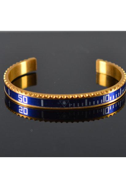 Heren armband staal goudkleur blauw (Maat S)