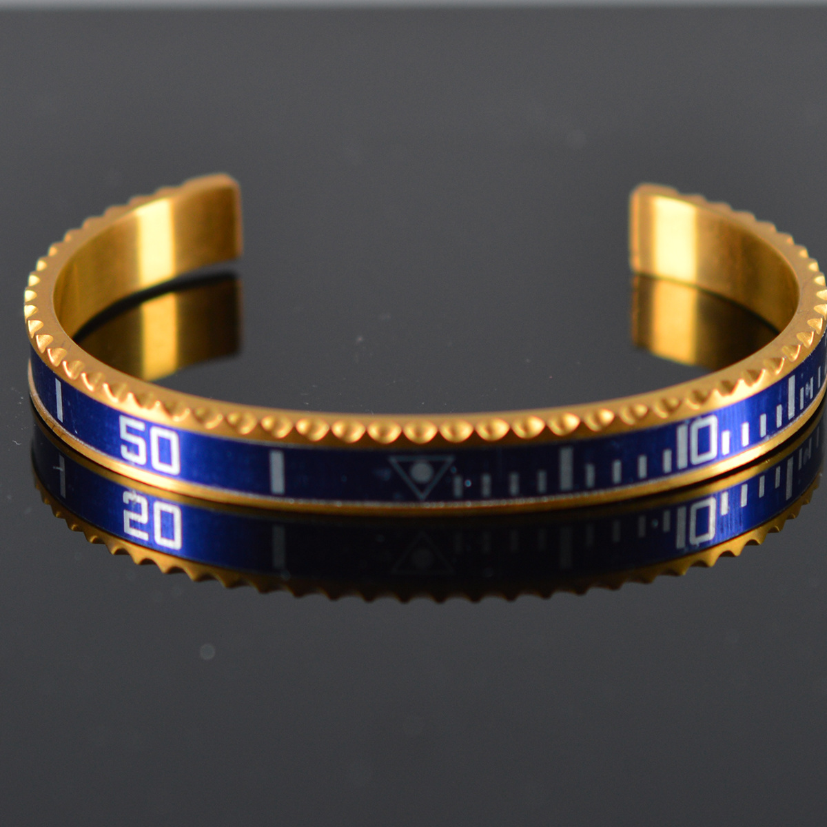 Armband heren staal goudkleur blauw (Maat S)-1