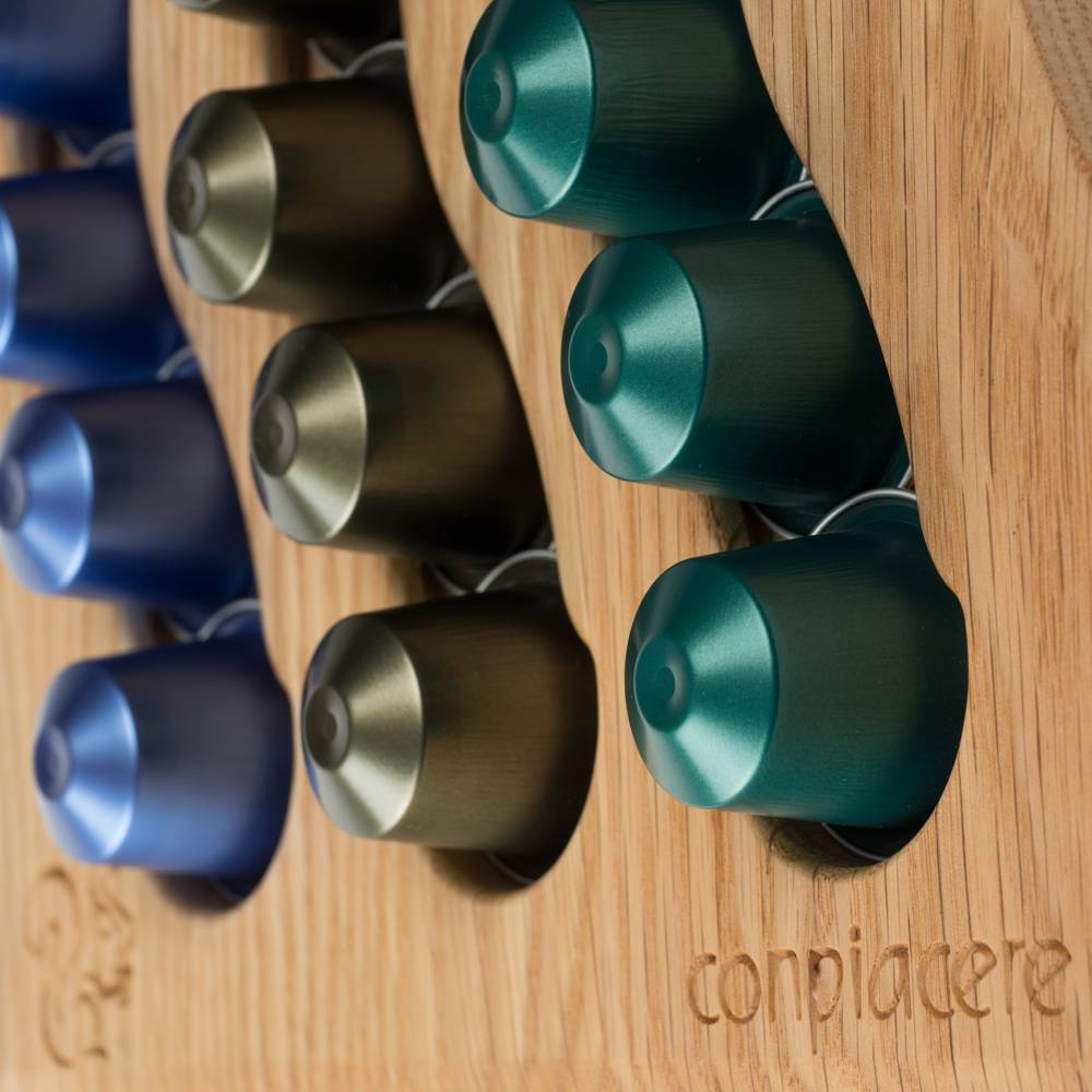 Capsule HolderSwing III in Red Oak for the Nespresso System