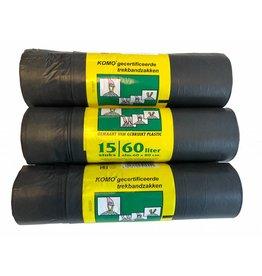KOMO keurmerk Komo Trekbandzakken 60 liter 3 x 15 stuks