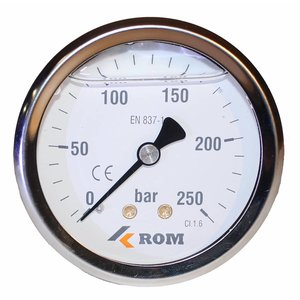 "Manometer 0 - 250 bar 1/4"" achteraansluiting"