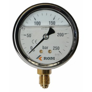 "Pressure gauge 0-250 bar, 1/4"" under connection"