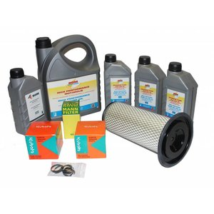 Maintenance kit for periodic service to hp unit with Kubota D1105(T) engine.  Complete with filters, motor oil, hp pump oil and inspection list.