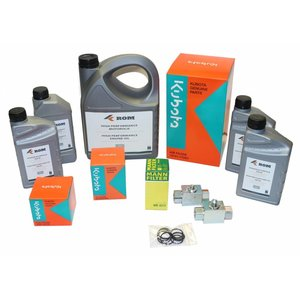 Maintenance kit for periodic service to hp unit with Kubota D1105(T) engine. Complete with filters, motor oil, hp pump oil, two way 1/2'' pressure regulator valves and inspection list.