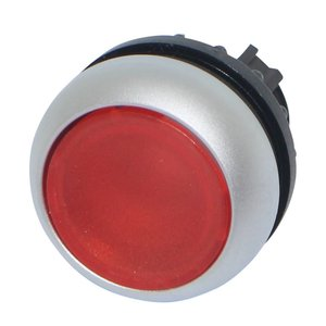 Push button element transparent red for LED indication