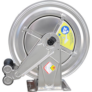 Stainless Steel HP-reel with automatic winding mechanism. Delivered excluding hp-hose