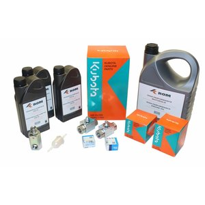 Maintenance kit for periodic service to EcoFit with Kubota D1105(T) engine.  Complete with filters, motor oil, HP pump oil, two way 1/2'' pressure regulator valves, external swivel and inspection list.