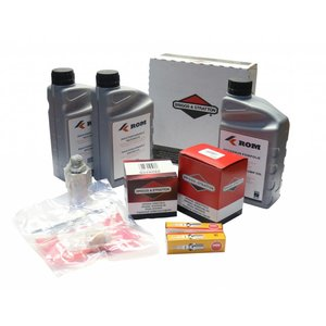 Maintenance kit for periodic service to hp unit with Vanguard® by Briggs & Stratton petrol engine 20-23hp (COMPACT > 2010). Complete with filters, motor oil, hp pump oil, spark plugs, swivel and inspection list.