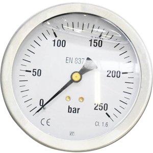"""Manometer 0 - 250 bar 1/2"""" achteraansluiting  ten behoeve van ROM 900"""