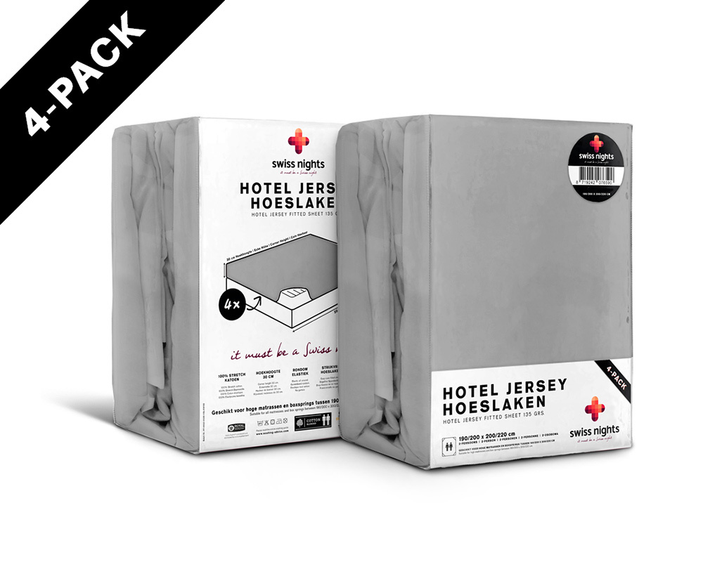 Swiss Nights Hoeslaken 4 pack Hotel Jersey 100 % katoen135 gr. Grey