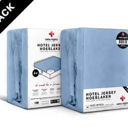 Swiss Nights Fitted Sheet SN 4Pack Hotel Cotton Blue