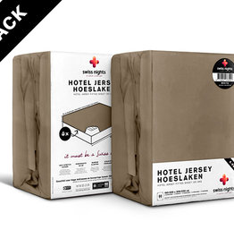 Swiss Nights Fitted Sheet SN 4Pack Hotel Cotton Taupe