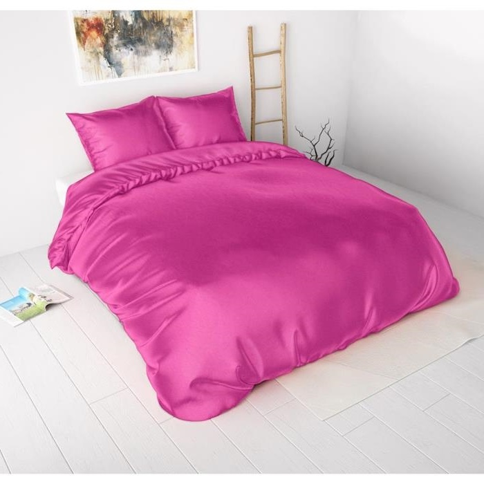 Sleeptime Beauty Skin Care Duvet Cover Hot Pink Silk Micropercal