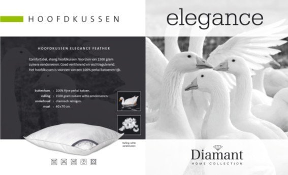 Diamant Hoofdkussen Elegance Feather (eendenveren)  60x70