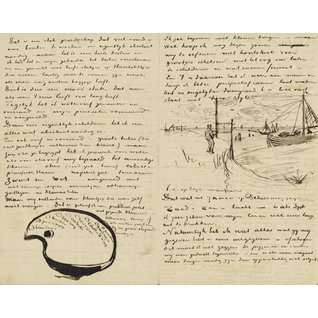 Letter to Theo van Gogh (with letter sketches Van Gogh's Palette and Beach at Scheveningen with Perspective Frame)