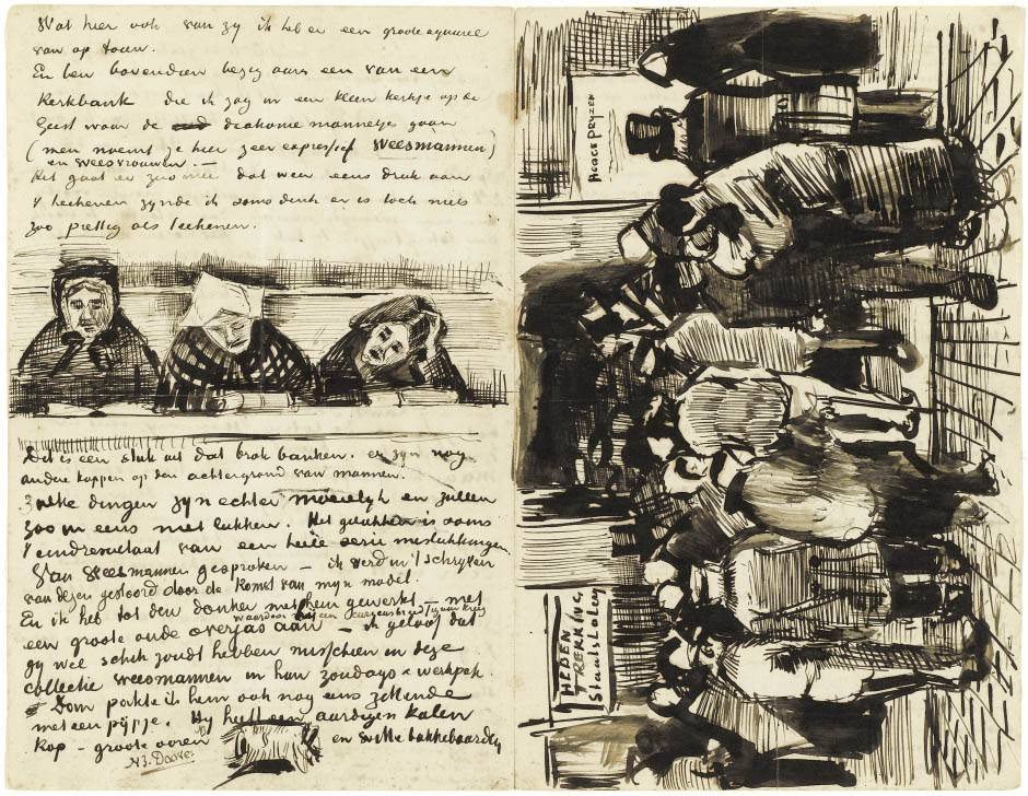 Letter to Theo van Gogh (with letter sketches Church Pew with