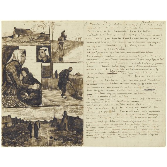 Letter to Theo van Gogh (with letter sketches Farm, Rider by a waterway, Woman and child, Head of a woman, Woman working and Country road with cottages)