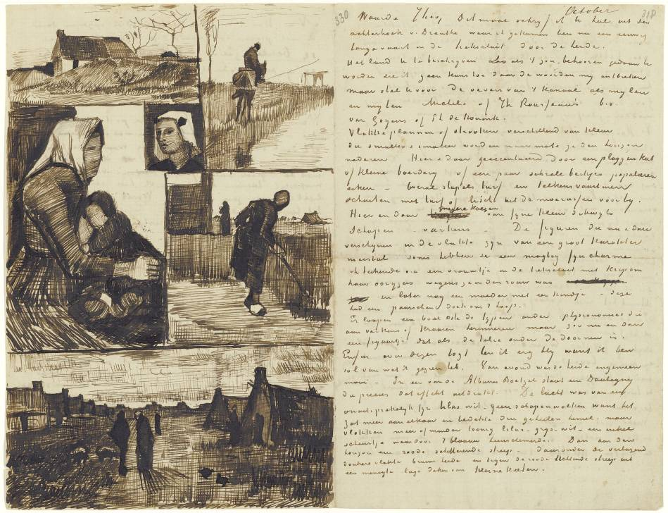 Letter to Theo van Gogh (with letter sketches Farm, Rider by a